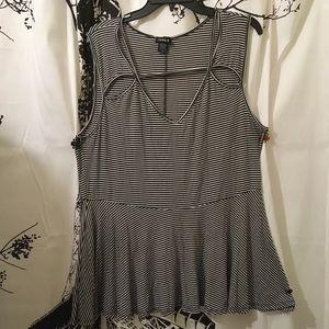 Torrid Peplum Striped Sleeveless Blouse Size 3X